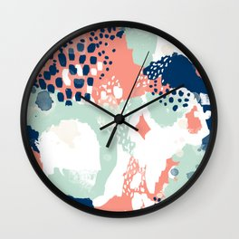 Kayl - abstract painting minimal coral mint navy color palette boho hipster decor nursery Wall Clock