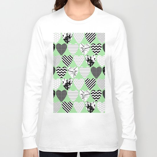 Hearts On Pastel Green - Abstract, black and white, geometric Long Sleeve T-shirt