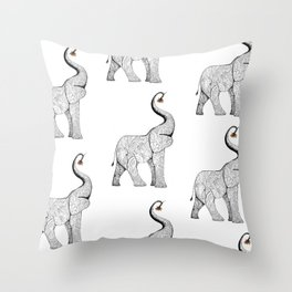 Sacred Paisley Elephant Throw Pillow