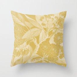 Floral, Rose, Vintage Print, Mustard Yellow Throw Pillow