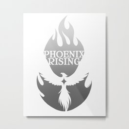 PHOENIX RISING grey with flames and star center Metal Print