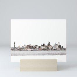 Seattle skyline 2 edges (light, crop2) Mini Art Print