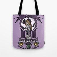 nouveau Tote Bags featuring Nightmare Nouveau by Karen Hallion Illustrations