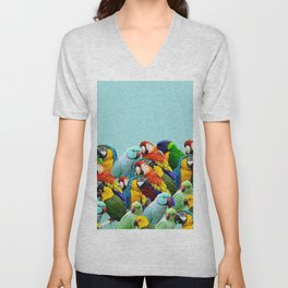 Sky blue parrots home decor Unisex V-Neck