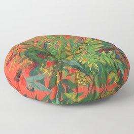 Autumn Floral on Orange Floor Pillow