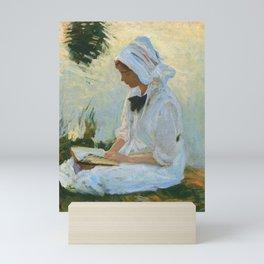 "John Singer Sargent ""Girl reading by a stream"" Mini Art Print"