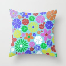 Colourful Colorful Flowers Pattern Throw Pillow