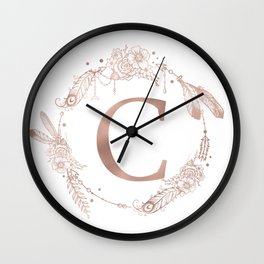 Letter C Rose Gold Pink Initial Monogram Wall Clock