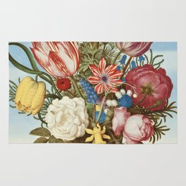 Bouquet of Flowers on a Ledge by Bosschaert Rug
