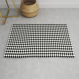 Mini Black and White Mini Diamond Check Board Pattern Rug