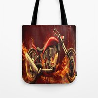 motorbike Tote Bags featuring FIRE MOTORBIKE by Acus