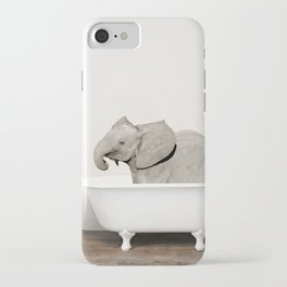 Baby Smiley Elephant in a Vintage Bathtub (c) iPhone Case