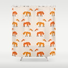 Cute Kissing Fox Couple Illustration with Light Background Shower Curtain