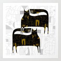 DOODLE CATS Art Print