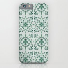Green Abstract Monkey Tile Pattern iPhone Case