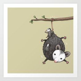 Opossum Family Art Print