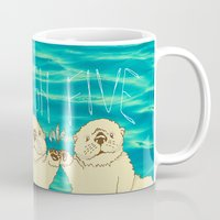 otters Mugs featuring High Five / Sea Otters by Alissa Thiele