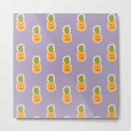 Pineapple love pattern - violet purple Metal Print