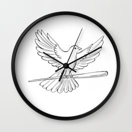 Pigeon or Dove Flying With Cane Drawing Wall Clock