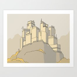 A city on a cliff Art Print