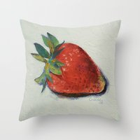 strawberry Throw Pillows featuring Strawberry by Michael Creese