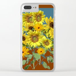 COFFEE BROWN-TEAL SUNFLOWER FIELD Clear iPhone Case