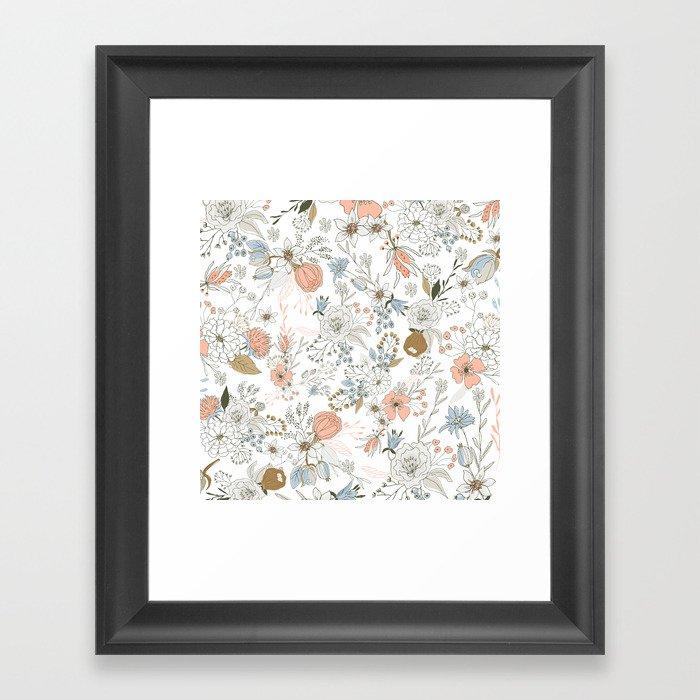 Abstract modern coral white pastel rustic floral Gerahmter Kunstdruck