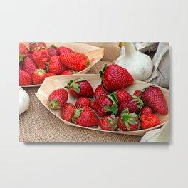 Fresh Strawberries On Wooden Plates And Garlic Bulbs Metal Print
