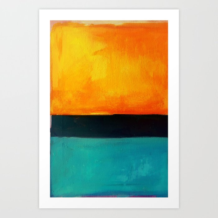 Mark Rothko Interpretation Orange Blue Art Print