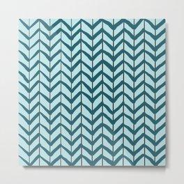 Chevron Arrows Teal Aqua Metal Print