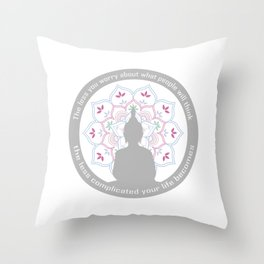 Buddha on a sacred lotus with quotes Throw Pillow