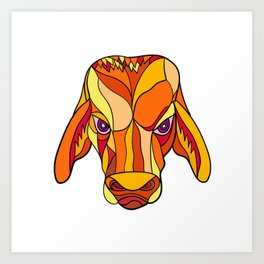 Brahma Bull Head Mosaic Color Art Print