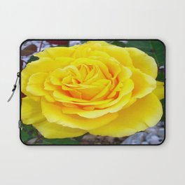 Golden Yellow Rose with Garden Background Laptop Sleeve