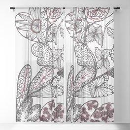 Heart on Heart Multi Doodle Zenart Design Sheer Curtain