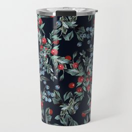 Festive Christmas Berries Pattern Travel Mug