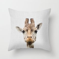 Giraffe - Colorful Throw Pillow