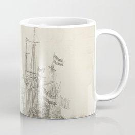Dutch Ships near the Coast Oil Painting by Willem van de Velde the Elder Coffee Mug