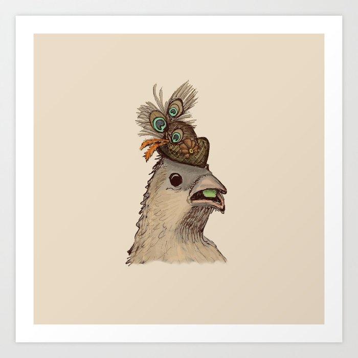 Bird in Hat 3 Art Print