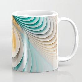 Creamy Beige-Teal Plateaus & Eggyolk Spiral Circles Coffee Mug