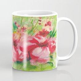 Red Flower Field Watercolors Coffee Mug