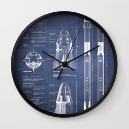 NASA SpaceX Crew Dragon Spacecraft & Falcon 9 Rocket Blueprint in High Resolution (dark blue) Wall Clock