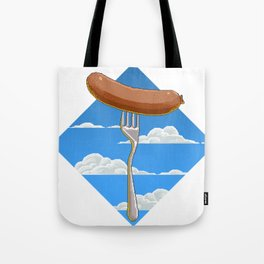 Pixel Sausage on Fork in the Sky Tote Bag