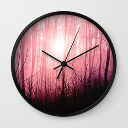 Pink fog in the forest Wall Clock