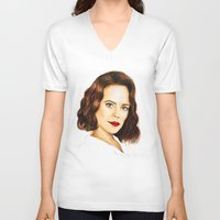 peggy carter V-neck T-shirts featuring Agent Carter by Olivia Nicholls-Bates