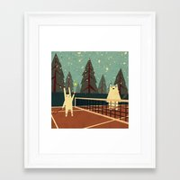 snow Framed Art Prints featuring First Snow by Yetiland