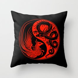 Red and Black Dragon Phoenix Yin Yang Throw Pillow
