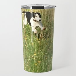 Happiness is running wild and free, and not letting your feet touch the ground! Travel Mug