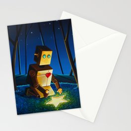 Another Wish Is Found - Robot in Forest Stationery Cards