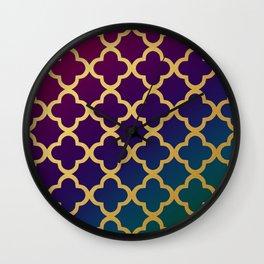 Gold quatrefoil pattern on jewel tones gradient Wall Clock