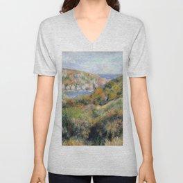 "Auguste Renoir - ""Hills around the Bay of Moulin Huet"" Unisex V-Neck"